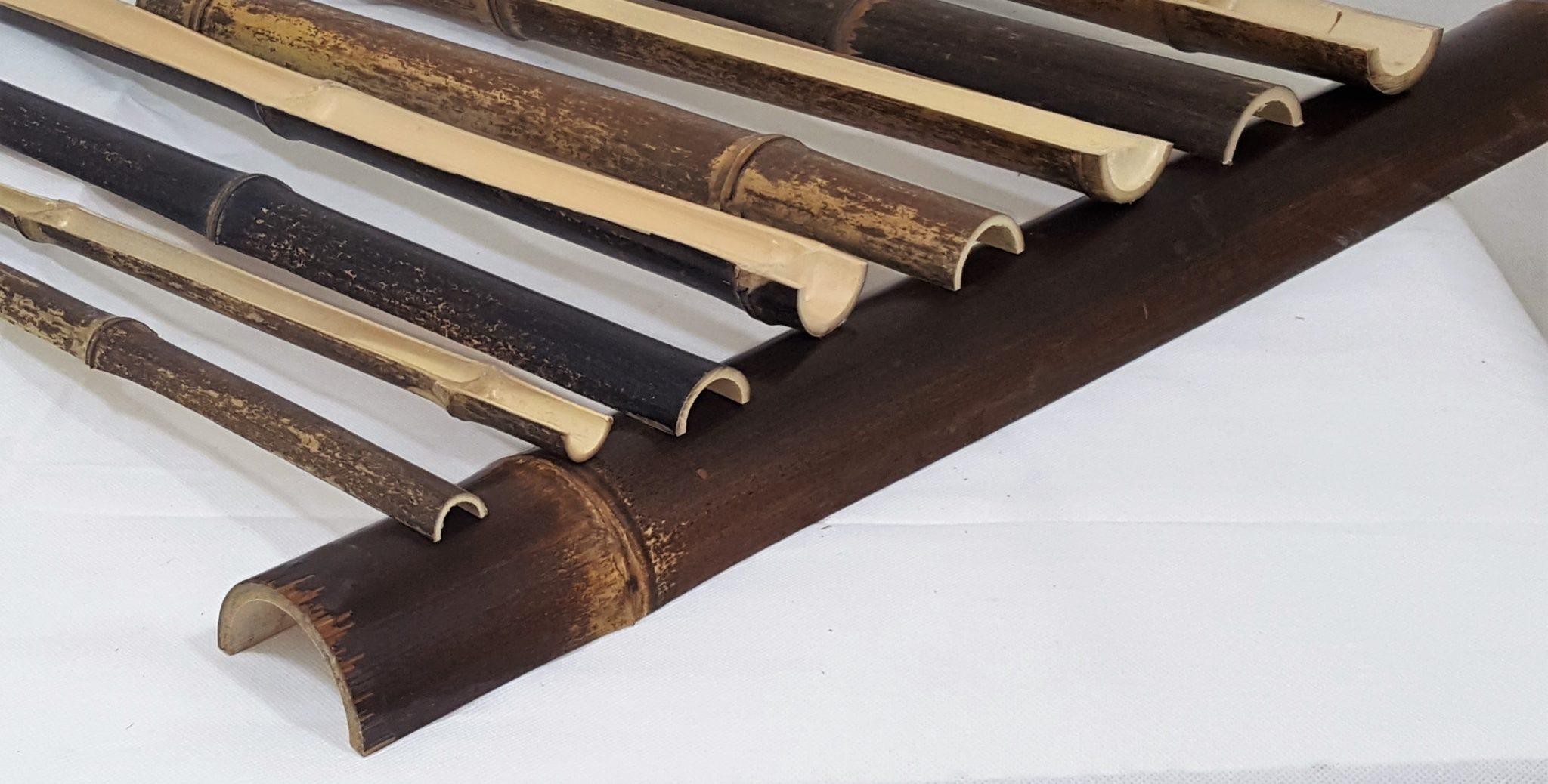 Black Bamboo Poles ~ Split natural black bamboo poles half pole