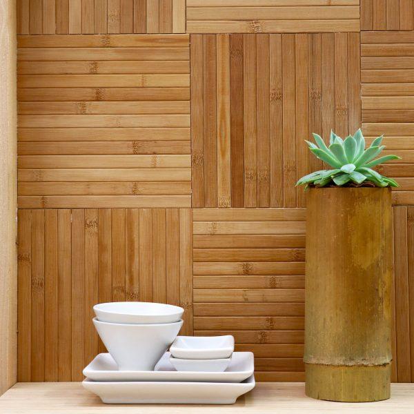 bamboo burnt honey geometric tile pattern