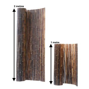 two heights of black bamboo fencing