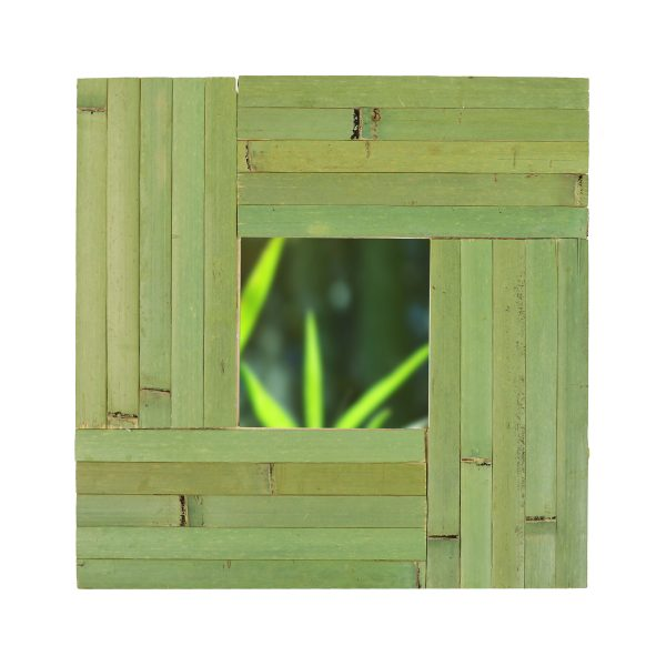 mirror covered in raw green panelling