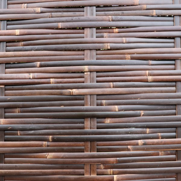 close-up shot of java woven bamboo fence