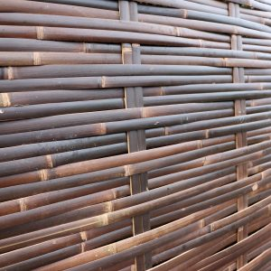 close-up shot of java woven bamboo fence side view