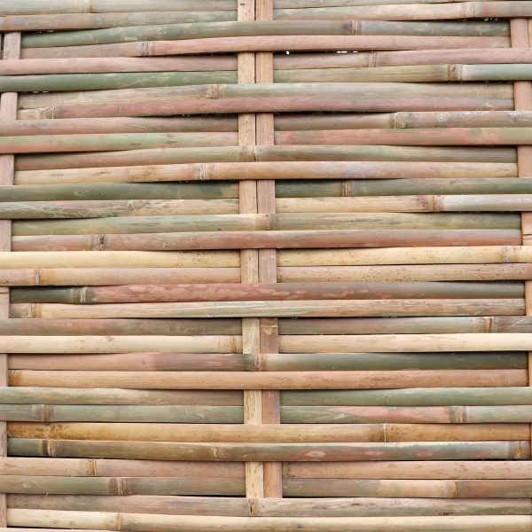 close-up shot of tali woven bamboo fence