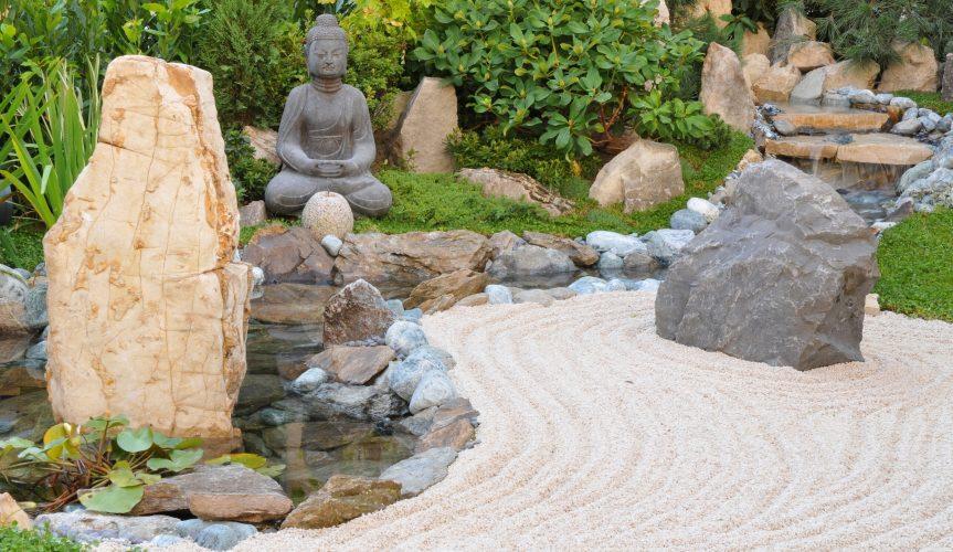 garden scene japanese style raked gravel