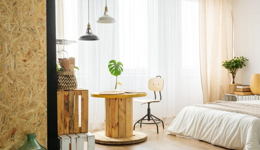 modern bedroom interior with recycled furniture
