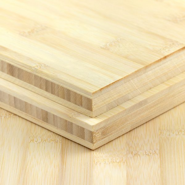 side view of two 19mm plain pressed bamboo boards in natural