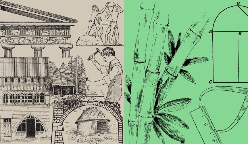 vintage ink drawings of buildings opposite measuring up bamboo